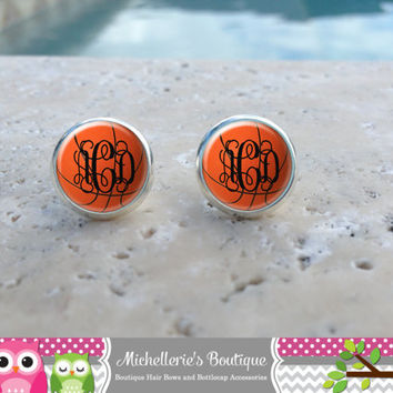 Basketball Earrings, Basketball Jewelry, Basketball Accessories, Personalized Basketball,Gifts for Her, Gifts under 10, Sports Gift
