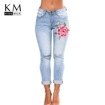 kissmilk 2018 Solid Blue Women Jeans Floral Embroidery Full Length Hole Bleached Female Clothing Skinny Lady Casual Pencil Pants