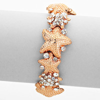 Starfish Rhinestone Bracelet Rose Gold