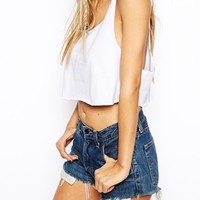 ASOS Loose Fit Crop Top with Raw Edge