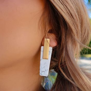 Hanging On Earrings: Gold/Marble