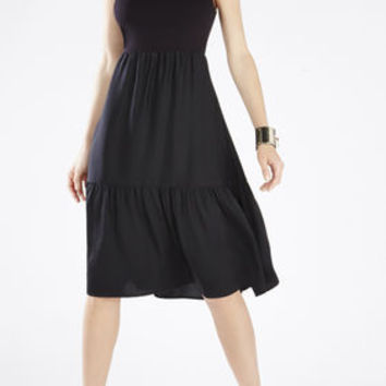 Lynsey Knit Tiered Skirt Dress - Black