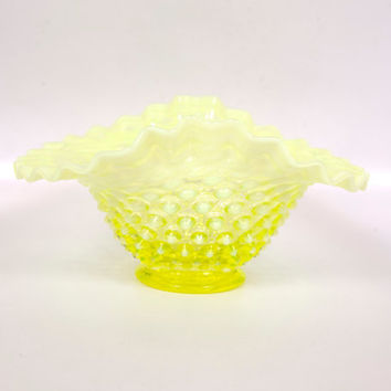 Vintage Yellow Wedding Bowl Fenton Art Glass Topaz Opalescent Hobnail Bowl Ruffled Candle Holder
