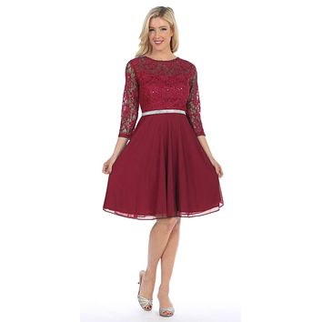 Burgundy Quarter Sleeves Lace Knee-Length Wedding Guest Dress