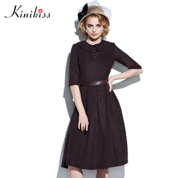 Kinikiss Vintage Dress Women Lapel Half Sleeve Summer Dress Pleated A-line Slim Women Party Dresses Vintage 1950s Style Retro