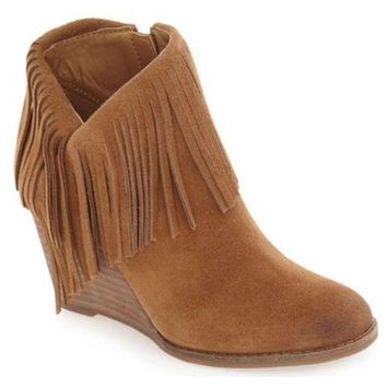 ICIKAB3 Lucky Brand Yachin Honey Oiled Suede Wedge Booties