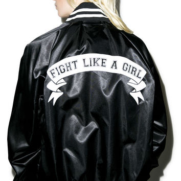 Stay Cute Fight Like A Girl Baseball Jacket Black