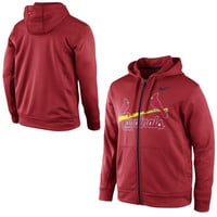 Nike St. Louis Cardinals KO Wordmark Full Zip Performance Hoodie - Red