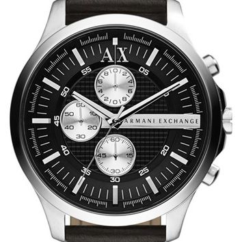 Men's AX Armani Exchange Chronograph Leather Strap Watch, 46mm - Black/ Silver