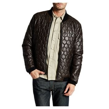 Levi's Brown Faux Leather Quilted Bomber Jacket, Size XL