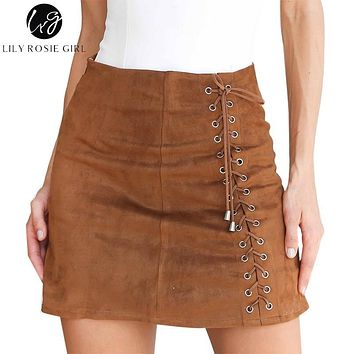 Lily Rosie Girl Khaki Lace Up Suede Leather Skirts Sexy Short Mini Skirt Autumn Winter 2017 Women Ladies Black Zipper Skirts