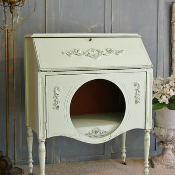 Shabby Chic Desk with Cabinet! Great Also As Entry Table Small Buffet Sideboard The Shabby Chic Furniture Seafoam Green Hand Painted