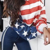 New Red Striped American Flag Long Sleeve Round Neck Casual T-Shirt