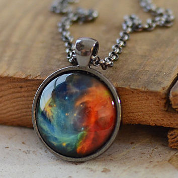 Nebula Necklace, Universe Jewelry, Space Pendant, Gift for Him, Gift for Her  (1297)