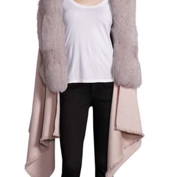 Annabelle New York - Abby Cashmere, Wool & Fox Fur Cape