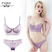 PASKE Brand Women Bra Set Full Transparent Lace Bra And Panty Set Underwear