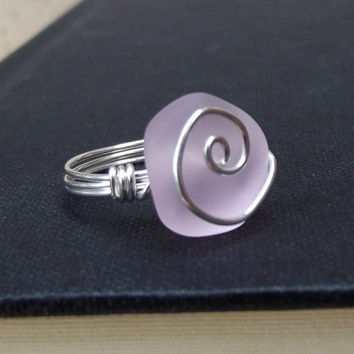 Pink Sea Glass Ring:  Fine Silver Swirl Spiral Wire Wrapped Blush Rose Beach Jewelry, Size 7