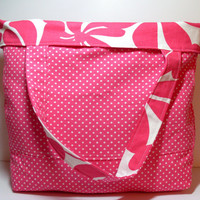 Large Beach Tote - Reversible Beach Bag - Pink White - Floral Polka Dots - Summer Beach Bag - Big Tote Bag
