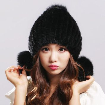 DCCKJG2 100% Real Mink Fur Hat for Women Winter Knitted Mink Fur Beanies Cap with Fox Fur Pom Poms 2016 New Thick Female Russian Cap