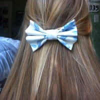 Blue and White China Print Hair Bow