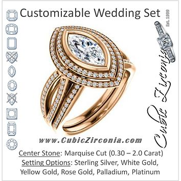 CZ Wedding Set, featuring The Eliana engagement ring (Customizable Bezel-set Marquise Cut with Double Halo and Split Pavé Band)