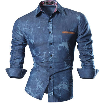 Spring Autumn Features Shirts Men Casual Jeans Shirt New Arrival Long Sleeve Casual Slim Fit Male Denim Shirts