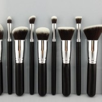 BESTOPE 10PCs Premium Synthetic Makeup Brushes Makeup Brush Set Cosmetics Foundation Blending Blush Eyeliner Face Powder Brush Makeup Brush Kit (Black Sliver)