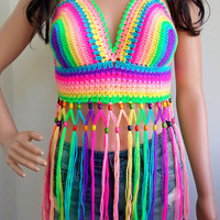 Festival RAINBOW CROCHET TOP Summer Beads Wood Crop Top Boho Rainbow Hippie Fringed Crochet Top Crochet Halter Top Halter Hippie Fringes
