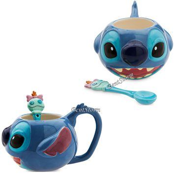 Licensed cool NEW Lilo & Stitch Coffee Mug & Scrump Spoon Set Ceramic 12 OUNCES Disney Store