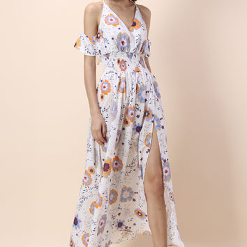 Sweet Aroma Floral Maxi Dress in White