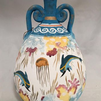 Minoan Dolphins Swimming in Ocean Blue Two Handles Greek Vase 10H