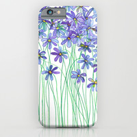 Purple Daisies in Watercolor & Colored Pencil iPhone & iPod Case by Micklyn