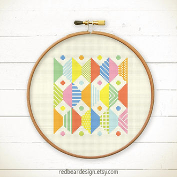 Modern Geometric Cross stitch pattern PDF - Play with Trapezoid n Dots -Stitch Instant download - Abstract colorful fun Minimalist home deco