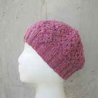 Pink Tweed Beanie With Flower, Women & Teen Girls, Hand Knit, Wool Hat