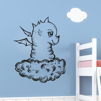 Vinyl Wall Decal Sticker Baby Dragon in Cloud #1359