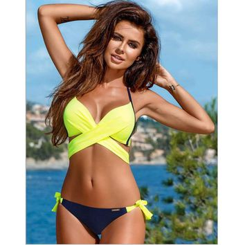 Sexy Criss Cross Bikini Top Women Swimsuit Push Up Swimwear Bandage Halter Bikini Set Beach Bathing Suit Swim Wear XL XXL 2018