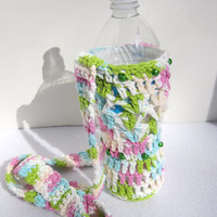 Crochet Cotton Water Bottle Holder Pastel Colors for Spring, Beaded Water Bottle Holder, Water Bottle Carrier by Charlene