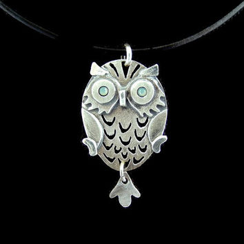 Sterling Silver Owl necklace, owl pendant, owl jewelry, whimsical jewelry , animal necklace, animal pendant, owl necklace gift for her