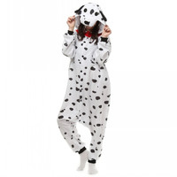 Unisex Adults White Dalmatian Spot Dog Costume Pajama Halloween Christmas Onesuits Teenagers Famous Brand Cartoon Lounge Wear