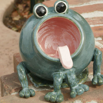 Willy- Green Frog soap holder, sponge holder, Hand Thrown Stoneware Pottery