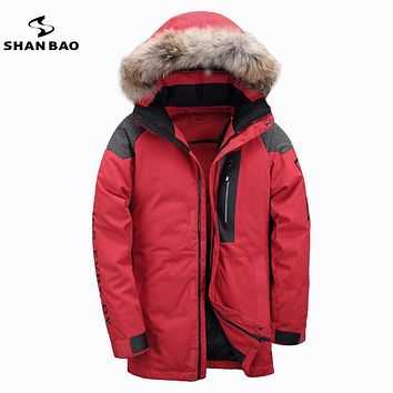 2017 winter Russian warm thick high quality casual men's down jacket fur hooded white duck down parka coat Black Red Khaki