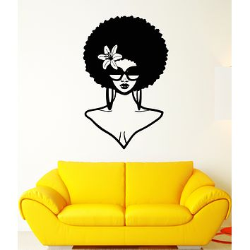 Vinyl Wall Decal African Girl Face Hair Sunglasses Curls Stickers (3438ig)