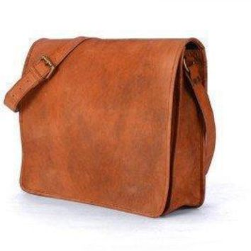 IN-INDIA Full flap Hunter Leather Brown Messenger Satchel Bag- Fits Laptop and iPad All Sizes