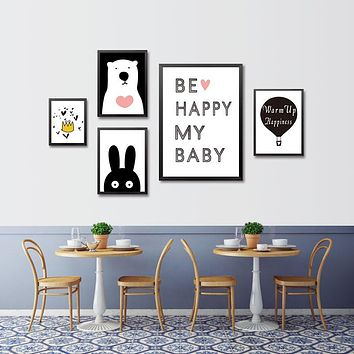 Modern Minimalist Nordic Black White Kawaii Animals Large Art Prints Poster Kids Room Home Decor Wall Picture Canvas Painting
