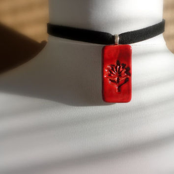 Hot Red Flower Choker, Nature Lover Jewelry, Pottery Necklace, Ceramic Pendant, ooak
