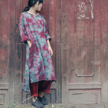 Cotton $ Linen Long Robe Summer 2014 New Women Tie Dye Loose Maxi Plus Size Solid Casual Breathe Comfortable Vintage Dress