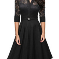 Black High Waist Flared Lace Cut-Out Sash Pleated Dress
