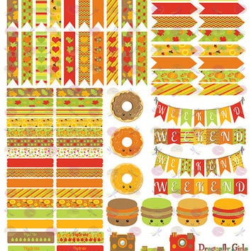 50% OFF Sale! DIY October Fall Harvest Printable Planner 98 Stickers Sheet 3 of Kit  in PDF and jpeg Erin Condren Planner Kikkik Filofax