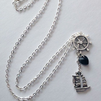 Captain Hook Necklace OUAT Disney Inspired Jewelry Once Upon a Time Killian Jones Pirate Ship Black Heart Ship Jack Sparrow Nerd Geek Gift