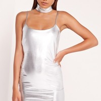 Missguided - Strappy Bodycon Dress Silver